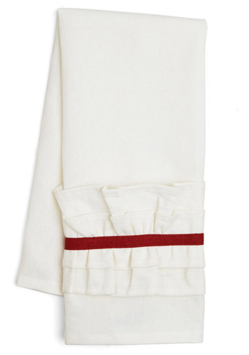 Get Your Frills Tea Towel in Red - Woven, Good, White, Red, Ruffles, Minimal, Variation, Holiday, Wedding