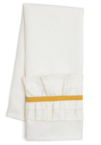 Get Your Frills Tea Towel in Yellow - Woven, Good, White, Yellow, Ruffles, Minimal, Variation, Holiday