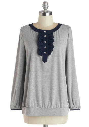 Pen Your Thoughts Top - Grey, Blue, Solid, Buttons, Ruffles, Casual, Long Sleeve, Good, Mid-length, Knit, Grey, Long Sleeve