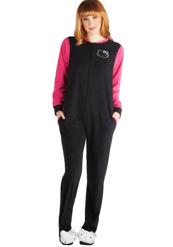 Sittin' Kitty One-Piece Pajamas - Knit, Black, Pink, Pockets, Cats, Long Sleeve