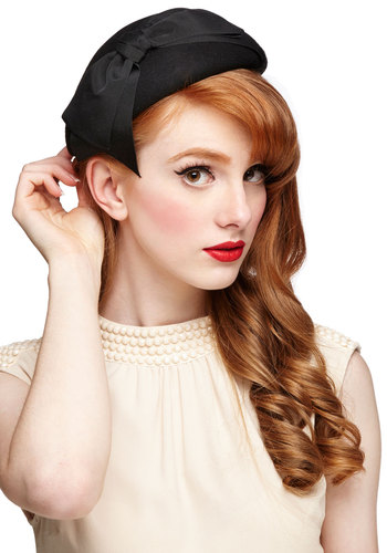 Graceful Garb Hat - Black, Solid, Bows, Special Occasion, Best, Film Noir, Vintage Inspired, Social Placements