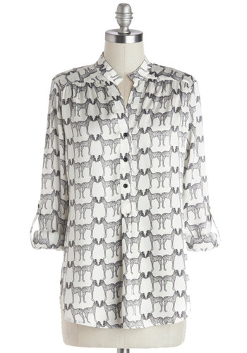 Long Walk on the Wild Side Top - Woven, Mid-length, White, Buttons, Good, V Neck, Black, White, Tab Sleeve, Black, Print with Animals, Casual, 3/4 Sleeve