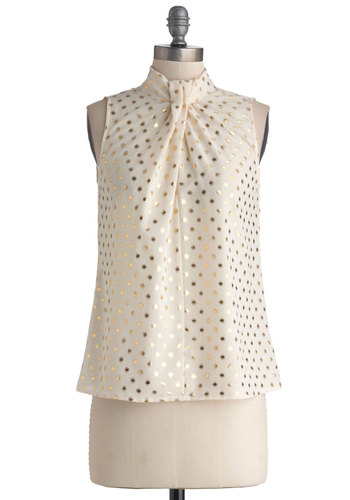 Twinkle of An Eye Top - Mid-length, Woven, Cream, Polka Dots, Buttons, Party, Sleeveless, Good, Gold, Sleeveless, Gold, White