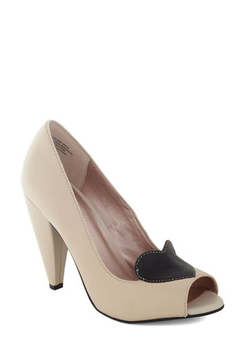 Ready for Anything Heel by Seychelles - Black, Formal, Prom, Party, Daytime Party, High, Leather, Best, Peep Toe, Cream, Bride, Valentine's