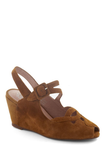 Express Your Selfhood Wedge - Tan, Solid, Cutout, Best, Wedge, Slingback, Suede, Mid, Leather