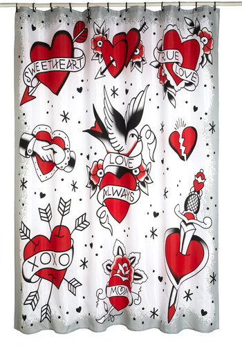 Ink or Swim Shower Curtain - Red, White, Black, Novelty Print, Rockabilly, Woven, Gifts Sale, Valentine's