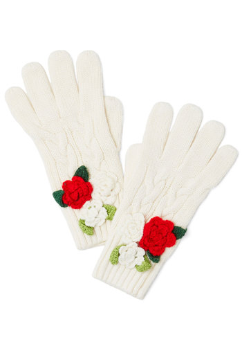 Changing of the Garden Gloves by Disaster Designs - Knit, Cream, Red, Green, Solid, Flower, Darling, Fall, Better, International Designer, Winter