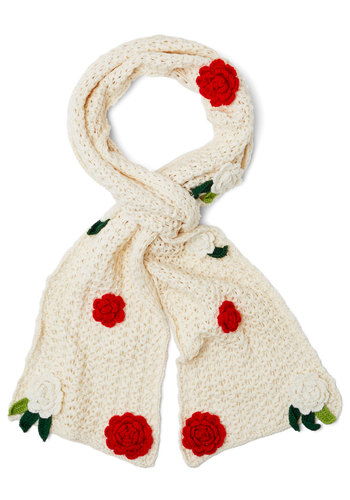 Changing of the Garden Scarf by Disaster Designs - Knit, Cream, Red, Green, Crochet, Flower, Fall, Winter, Better, International Designer