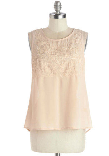 Crêpe Walk Top - Mid-length, Chiffon, Sheer, Woven, Pink, Buttons, Embroidery, Fairytale, Sleeveless, Good, Scoop, Pink, Sleeveless, Pastel, Spring