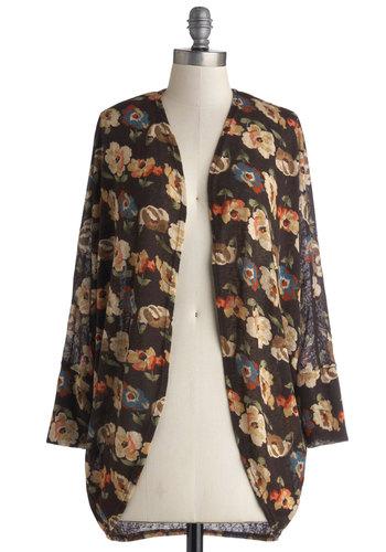 Dried Flower Tea Cardigan - Mid-length, Sheer, Knit, Multi, Floral, Casual, Long Sleeve, Brown, Long Sleeve
