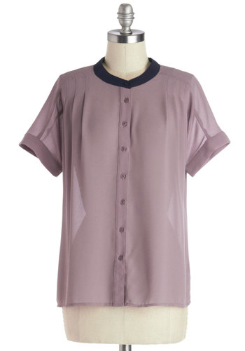 Rosewater World Top - Woven, Sheer, Mid-length, Purple, Solid, Buttons, Pleats, Button Down, Short Sleeves, Good, Crew, Short Sleeve, Black, Work, Vintage Inspired, 40s, 50s, Pink