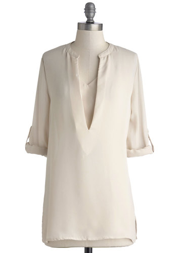 One Cannoli Hope Tunic - Chiffon, Sheer, Woven, Long, Cream, Solid, Casual, Good, V Neck, Tab Sleeve, Work, 3/4 Sleeve, White