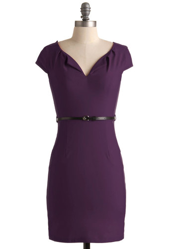 And We're Live Dress in Plum - Purple, Solid, Pockets, Belted, Work, Minimal, Shift, Cap Sleeves, Good, Mid-length, Variation