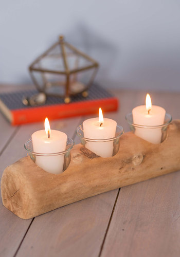 Driftwood You Join Me Votive Candle Holder - Tan, Rustic, Minimal, Good, Holiday, Wedding, Boho, Hostess