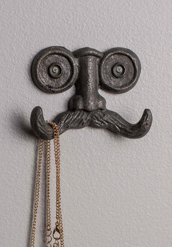 Stache Your Things Wall Hook - Black, Dorm Decor, Quirky, Steampunk, Good, Under $20, Guys