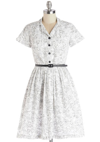 Painting Picnic Dress by Bea & Dot - Private Label, Cotton, Woven, Black, Floral, Buttons, Belted, Casual, Shirt Dress, Short Sleeves, Better, Collared, Fit & Flare, White, Show On Featured Sale, Bird, Woodland Creature, Mid-length