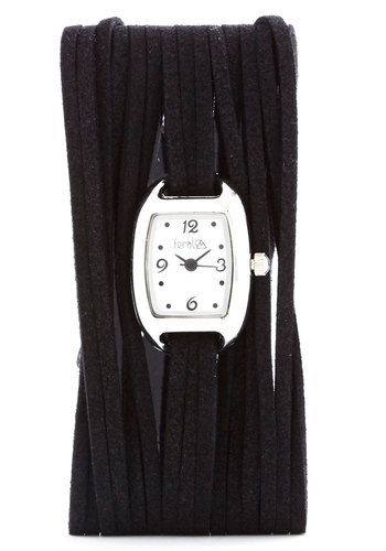 Just Wrapping Up Watch - Faux Leather, Black, Solid, Fringed, Silver, Good