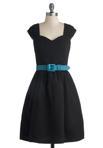 Committee Celebration Dress by Myrtlewood - Black, Solid, Belted, Casual, Fit & Flare, Cap Sleeves, Better, Sweetheart, Exclusives, Woven, Mid-length, Pockets, Private Label, Holiday Party