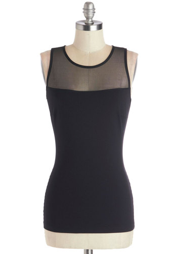 Amour than Meets the Eye Top - Mid-length, Sheer, Knit, Black, Solid, Exposed zipper, Urban, Sleeveless, Good, Scoop, Black, Sleeveless