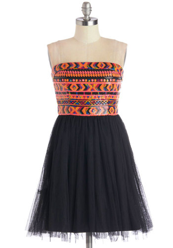 East Meets Fest Dress - Black, Print, Sequins, Party, Strapless, Better, Knit, Mid-length, Multi, A-line