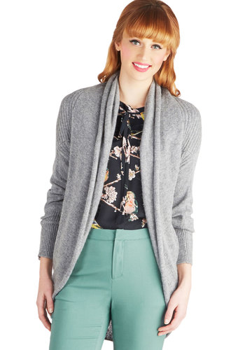 Can't Stop the Cozy Cardigan - Knit, Short, Grey, Solid, Casual, Long Sleeve, Better, Grey, Long Sleeve