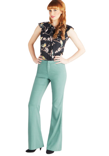 Feeling Confab-ulous Pants - Woven, Solid, Pockets, Vintage Inspired, Flare / Bell Bottom, Better, Mid-Rise, Full length, Work, 70s, Mint, Green, Non-Denim