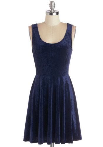 Velvet, If You Please Dress in Deep Sapphire - Knit, Mid-length, Blue, Solid, Vintage Inspired, 90s, Minimal, Tank top (2 thick straps), Winter, Variation, Scoop, Party
