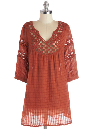 Houseboat Tunic in Rust - Cotton, Sheer, Woven, Long, Orange, Buttons, Crochet, Casual, Boho, 70s, 3/4 Sleeve, Better, Orange, 3/4 Sleeve, Vintage Inspired, Variation