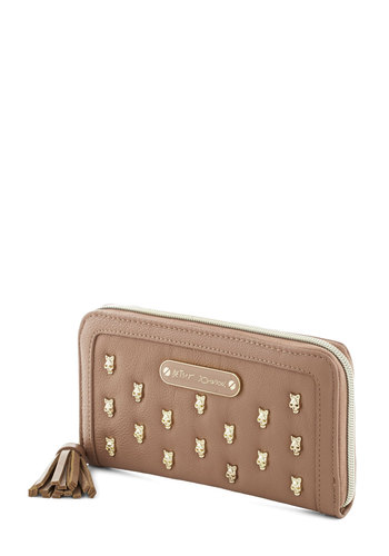 Betsey Johnson It's Skull With Me Wallet by Betsey Johnson - Gold, Solid, Studs, Tassles, Travel, Faux Leather, Tan, Skulls
