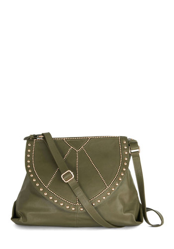 Remarkable Regalia Bag - Green, Gold, Solid, Studs, Boho, Better, Faux Leather