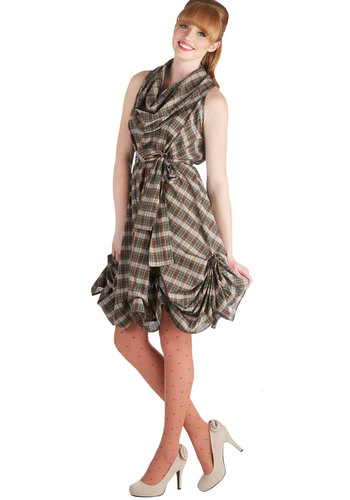 Metalwork It Out Dress - Brown, Multi, Plaid, Belted, Party, A-line, Sleeveless, Better, International Designer, Cowl, Steampunk