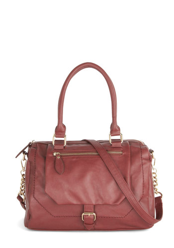 Overdue Reunion Bag - Red, Gold, Solid, Better, Faux Leather