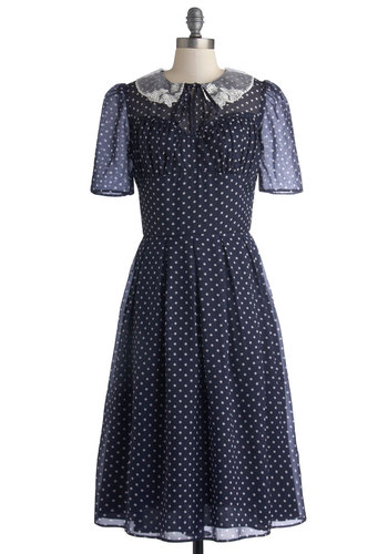 Cross Your Teas Dress - Blue, White, Polka Dots, Tie Neck, Casual, Vintage Inspired, A-line, Short Sleeves, Better, International Designer, Collared, Embroidery, 60s, Chiffon, Sheer, Woven, Long