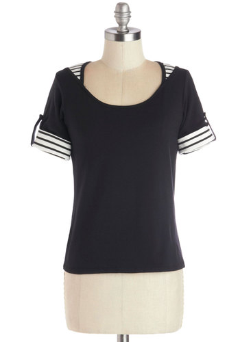 Director's Cut Above Top - Cotton, Knit, Black, Stripes, Casual, Private Label, Scoop, Black, Tab Sleeve, Mid-length, White, French / Victorian, Exclusives, Top Rated