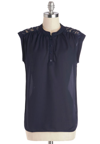 Family Recipes Top - Mid-length, Chiffon, Sheer, Woven, Blue, Buttons, Lace, Sleeveless, Good, Crew, Blue, Sleeveless, Lace