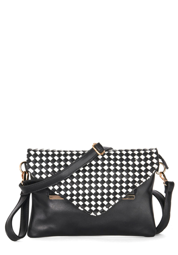 Decade Dance Bag - Black, Gold, Checkered / Gingham, Better, Faux Leather, White