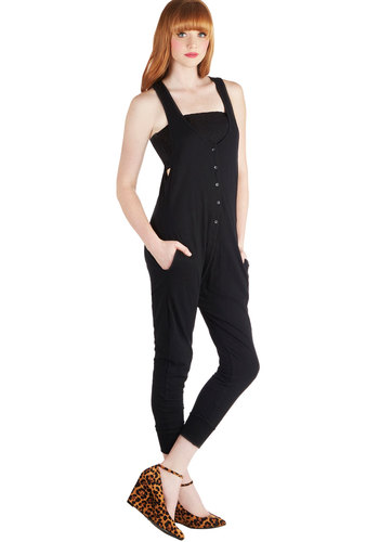 Drop the Beat Jumpsuit - Long, Cotton, Woven, Black, Solid, Buttons, Pockets, Casual, 90s, Jumper, Good, Scoop, Capri, Sleeveless, Vintage Inspired, Black, Non-Denim, Jumpsuit