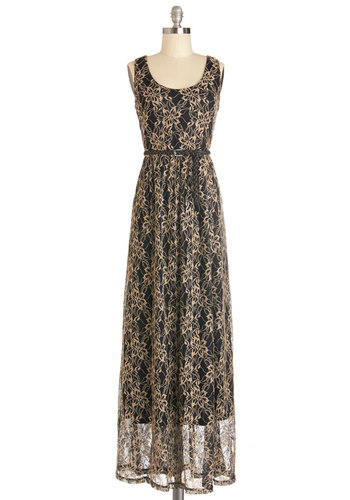 Maximum Allure Dress - Long, Woven, Tan / Cream, Black, Floral, Embroidery, Party, Maxi, Tank top (2 thick straps), Better, Scoop, Belted, Gifts Sale