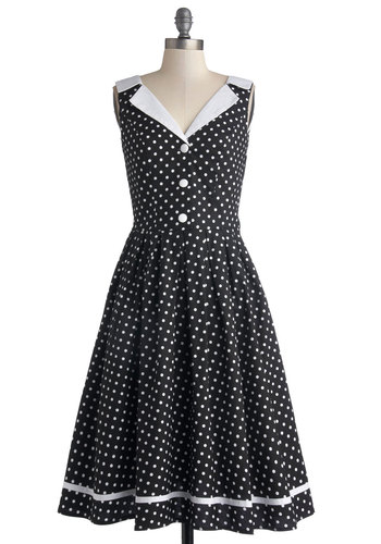 Love You Brunches Dress in Black - Long, Cotton, Woven, Black, White, Polka Dots, Buttons, Casual, Sleeveless, Better, International Designer, Collared, Vintage Inspired, 50s, A-line, Fit & Flare, Variation, Gifts Sale, Valentine's