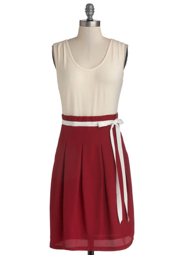 Scenic Road Trip Dress in Cream and Cranberry by Pink Martini - Red, Tan / Cream, Pleats, Belted, Casual, Twofer, Tank top (2 thick straps), Variation, Scoop, Better, Exclusives, Mid-length, Knit, Woven, Gifts Sale