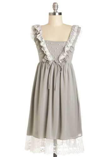 Fashion Dew Dress - Grey, White, Lace, Pearls, Ruffles, A-line, Sleeveless, Better, Mid-length, Chiffon, Woven, Casual, Gifts Sale