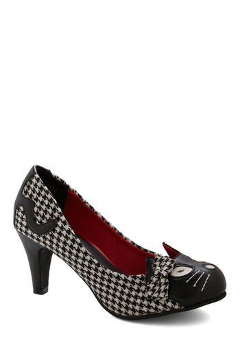 Meow's the Time Heel in Houndstooth - Mid, Faux Leather, Woven, Black, White, Print with Animals, Houndstooth, Bows, Quirky, Cats, Variation, Gifts Sale, Critters