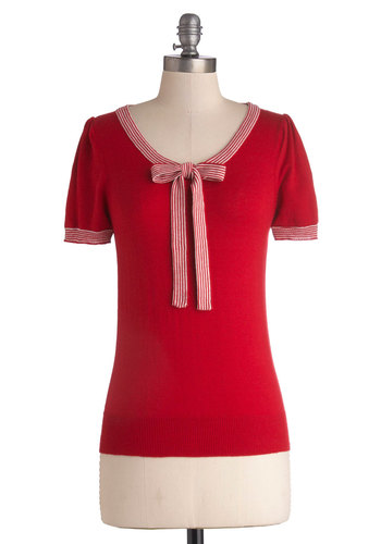 Barista in the City Top in Red - Red, Solid, Short Sleeves, Good, Mid-length, Knit, Bows, Nautical, Short Sleeve, Variation, Scoop, Work, Casual, Vintage Inspired, 50s, Red, Gifts Sale