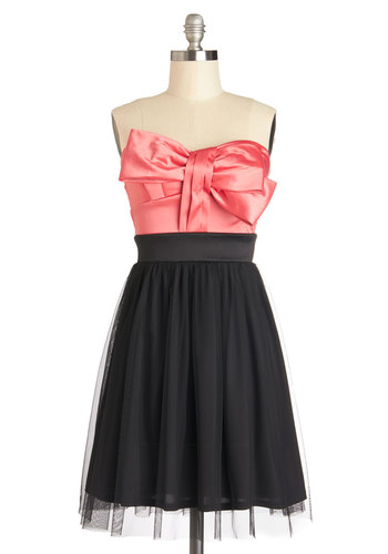 Art Gallery Gala Dress - Bows, Prom, Party, A-line, Strapless, Better, Sweetheart, Mid-length, Woven, Pink, Black, Gifts Sale