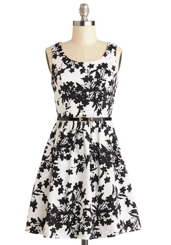 Petals and Panache Dress - Black, Floral, Daytime Party, A-line, Better, Scoop, Short, Cotton, Woven, Exposed zipper, Belted, Tank top (2 thick straps), Gifts Sale, White, Top Rated