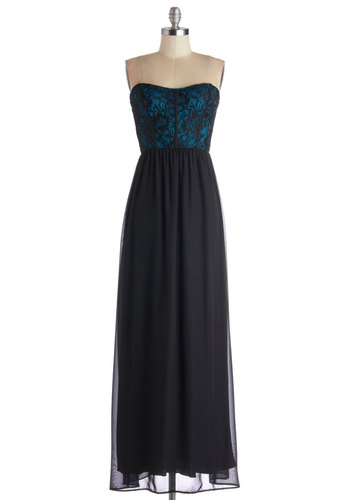 Enchanting Introductions Dress in Black - Black, Lace, Prom, Maxi, Strapless, Better, Sweetheart, Long, Chiffon, Woven, Blue, Special Occasion, Gifts Sale, Homecoming