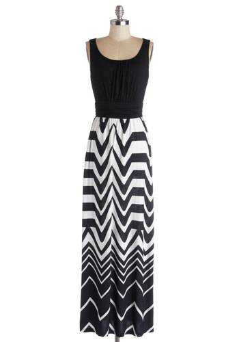 Bon Vivant in Vegas Dress - Chevron, Casual, Maxi, Sleeveless, Better, Scoop, Knit, Long, Black, White, Gifts Sale