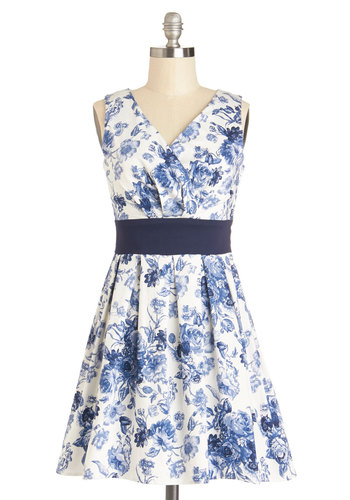 When Sprigs Fly Dress - Short, Cotton, Woven, Blue, Floral, Pleats, Party, A-line, Sleeveless, Better, V Neck, Gifts Sale, White