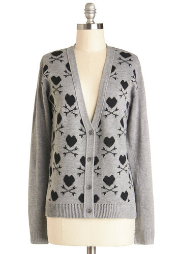 Stylish Desires Cardigan - Grey, Novelty Print, Better, Mid-length, Knit, Quirky, V Neck, Long Sleeve, Black, Buttons, Casual, Grey