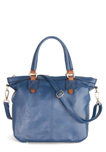 Extempore Style Bag - Blue, Tan / Cream, Gold, Solid, Casual, Faux Leather, Work, Minimal